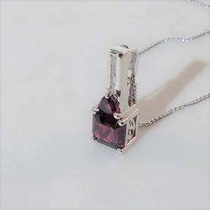 Jewelry - JUST IN  Garnet Pendant and Chain, Asscher Cut